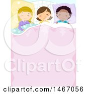 Clipart Of A Group Of Girls Sleeping With Text Space On The Blanket Royalty Free Vector Illustration by BNP Design Studio