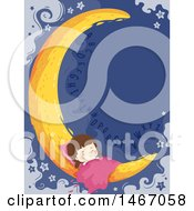 Clipart Of A Girl Sleeping On A Crescent Moon With Letters Royalty Free Vector Illustration
