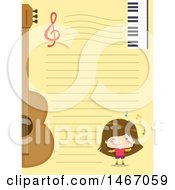 Clipart Of A Girl Guitar And Keyboard On Ruled Paper Royalty Free Vector Illustration
