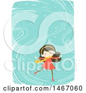 Clipart Of A Happy Girl Ice Skating Royalty Free Vector Illustration