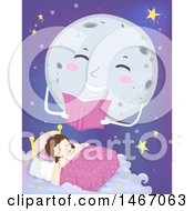 Clipart Of A Full Moon Reading A Story Over A Sleeping Girl Royalty Free Vector Illustration by BNP Design Studio