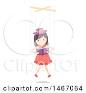 Clipart Of A Marionette Puppet Girl Reading A Book Royalty Free Vector Illustration