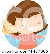 Clipart Of A Happy Girl Listening To A Conch Shell Royalty Free Vector Illustration by BNP Design Studio