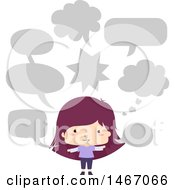 Clipart Of A Purple Haired Girl With Speech Balloons Royalty Free Vector Illustration