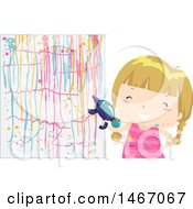 Clipart Of A Blond Girl Painting A Wall With A Squirt Gun Royalty Free Vector Illustration by BNP Design Studio