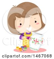 Clipart Of A Happy Girl Painting A Ceramic Vase Royalty Free Vector Illustration