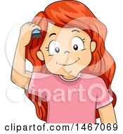 Clipart Of A Red Haired Girl Combing Her Hair Royalty Free Vector Illustration