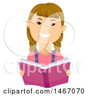 Clipart Of A Girl With Down Syndrome Reading A Book Royalty Free Vector Illustration by BNP Design Studio