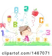 Clipart Of A Happy Girl Running Through A Pixelated Garden With Flowers Numbers And Letters Royalty Free Vector Illustration