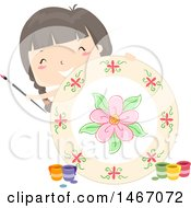 Clipart Of A Girl Holding Up A Plate That She Painted Royalty Free Vector Illustration