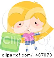 Clipart Of A Blond Girl With A Giant Dental Floss Container Royalty Free Vector Illustration by BNP Design Studio