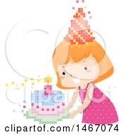 Clipart Of A Red Haired Girl With A Pixelated Party Hat And Birthday Cake Royalty Free Vector Illustration by BNP Design Studio