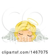 Blond Girl Angel With A Halo Resting Her Head On Her Arms
