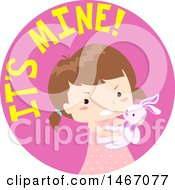 Clipart Of A Girl With Its Mine Text In A Circle Royalty Free Vector Illustration
