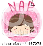 Clipart Of A Girl With Nap Time Text In A Circle Royalty Free Vector Illustration