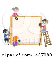 Clipart Of A Group Of Children Working On A Wood Frame Royalty Free Vector Illustration
