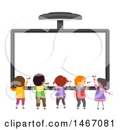 Clipart Of A Rear View Of Children Writing On An Interactive Board Royalty Free Vector Illustration