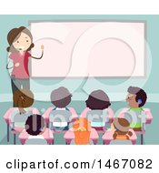 Female Teacher Wearing A Headset In A Class Room