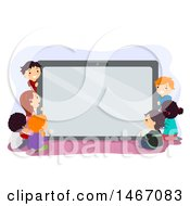 Group Of Children Around A Giant Tablet Computer