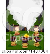 Clipart Of A Group Of Native American Children Gathered Around A Bonfire With Smoke Forming Text Space Royalty Free Vector Illustration