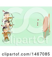 Clipart Of A Group Of Native American Children Shooting Arrows At An Archery Target Royalty Free Vector Illustration
