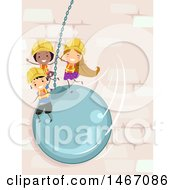 Clipart Of A Group Of Children Swinging On A Wrecking Ball Royalty Free Vector Illustration