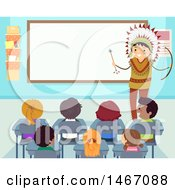 Clipart Of A Native American Man Teaching Students In A Class Room Royalty Free Vector Illustration