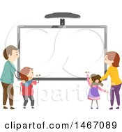 Clipart Of A Family Writing On An Interactive Board Royalty Free Vector Illustration