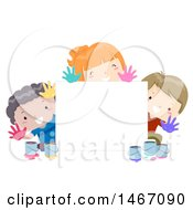 Clipart Of A Blan Sign With Children Holding Out Paint On Their Hands Royalty Free Vector Illustration