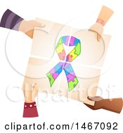 Poster, Art Print Of Group Of Kid Hands Holding Together Pieces Of Paper With An Autism Awareness Ribbon