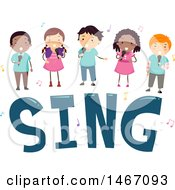 Group Of Children Over The Word Sing