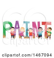 Poster, Art Print Of Group Of Children Decorating The Word Paint