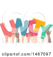 Poster, Art Print Of Row Of Hands Holding Up Unity Letters