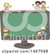 Sketched Group Of Children Around A Giant Computer Screen