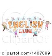 Sketch Of Children Around The Word English Club