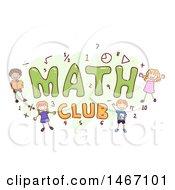 Sketch Of Children Around The Word Math Club