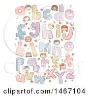 Clipart Of A Sketched Design Of Alphabet Letters And Faces Of Children Royalty Free Vector Illustration