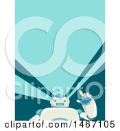 Clipart Of A Friendly Robot Waving Royalty Free Vector Illustration by BNP Design Studio