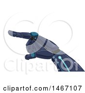 Clipart Of A Robotic Hand Pointing Royalty Free Vector Illustration