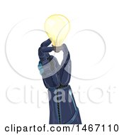 Robotic Hand Holding A Light Bulb
