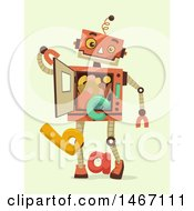 Poster, Art Print Of Robot With Alphabet Letters Falling From His Torso