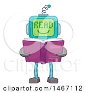 Robot With A Screen Face Saying Read Holding A Book