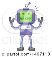 Clipart Of A Robot With A Screen Face Saying Speak Royalty Free Vector Illustration