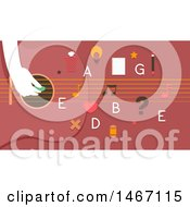 Clipart Of A Hand Playing A Guitar With Letters And Educational Icons Royalty Free Vector Illustration