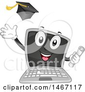 Laptop Computer Mascot Holding A Diploma And Tossing A Graduation Cap