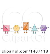 Clipart Of A Group Of Happy Shapes Holding Hands Royalty Free Vector Illustration