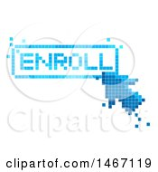 Clipart Of A Pixelated Arrow Cursor Clicking On An Enroll Button Royalty Free Vector Illustration