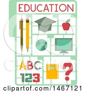 Clipart Of A Plastic Model Kit With Educational Icons Royalty Free Vector Illustration