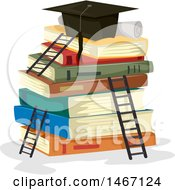 Poster, Art Print Of Diploma And Graduation Cap On Top Of A Stack Of Books With Ladders