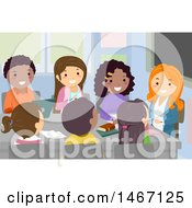 Clipart Of A Group Of Teenagers Having A Student Council Meeting Royalty Free Vector Illustration